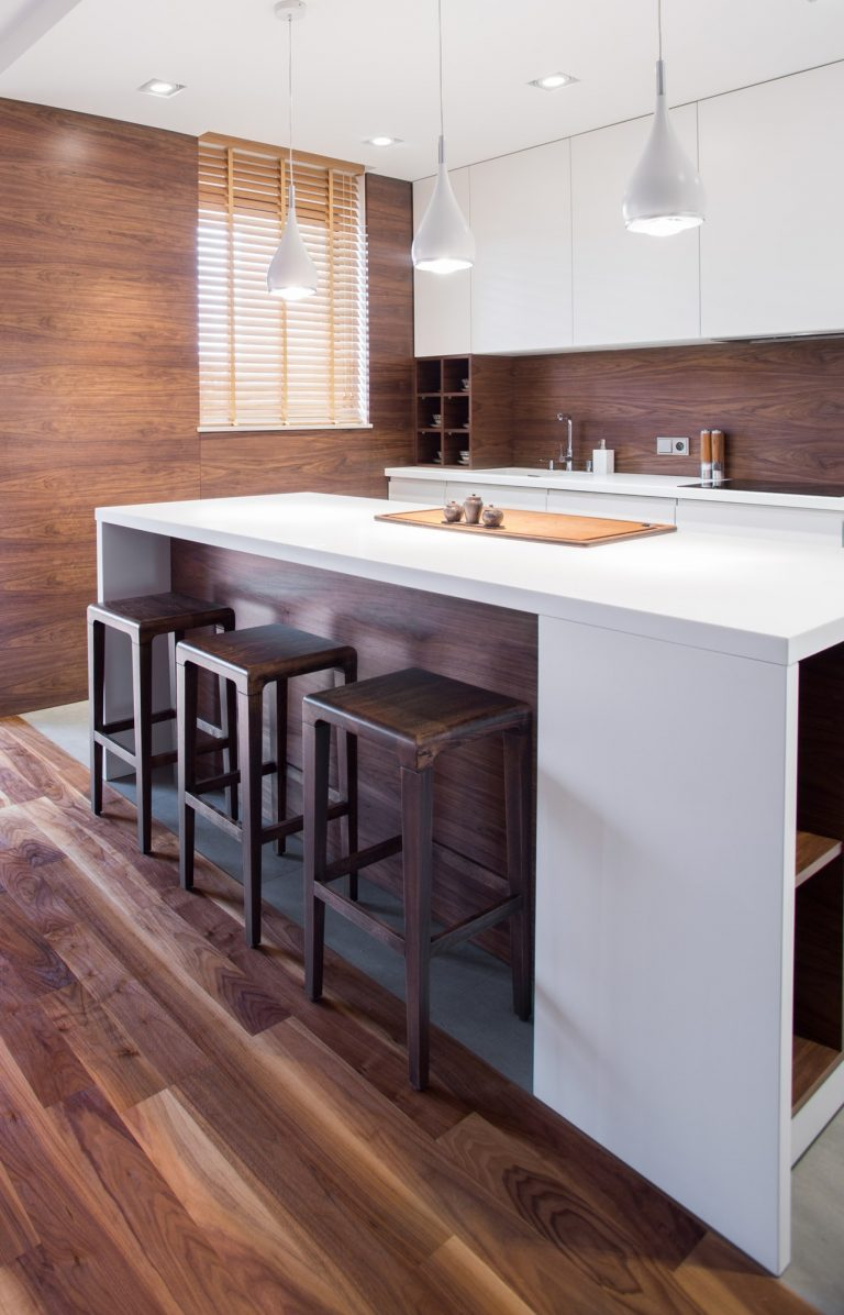 Elegant wooden kitchen interior