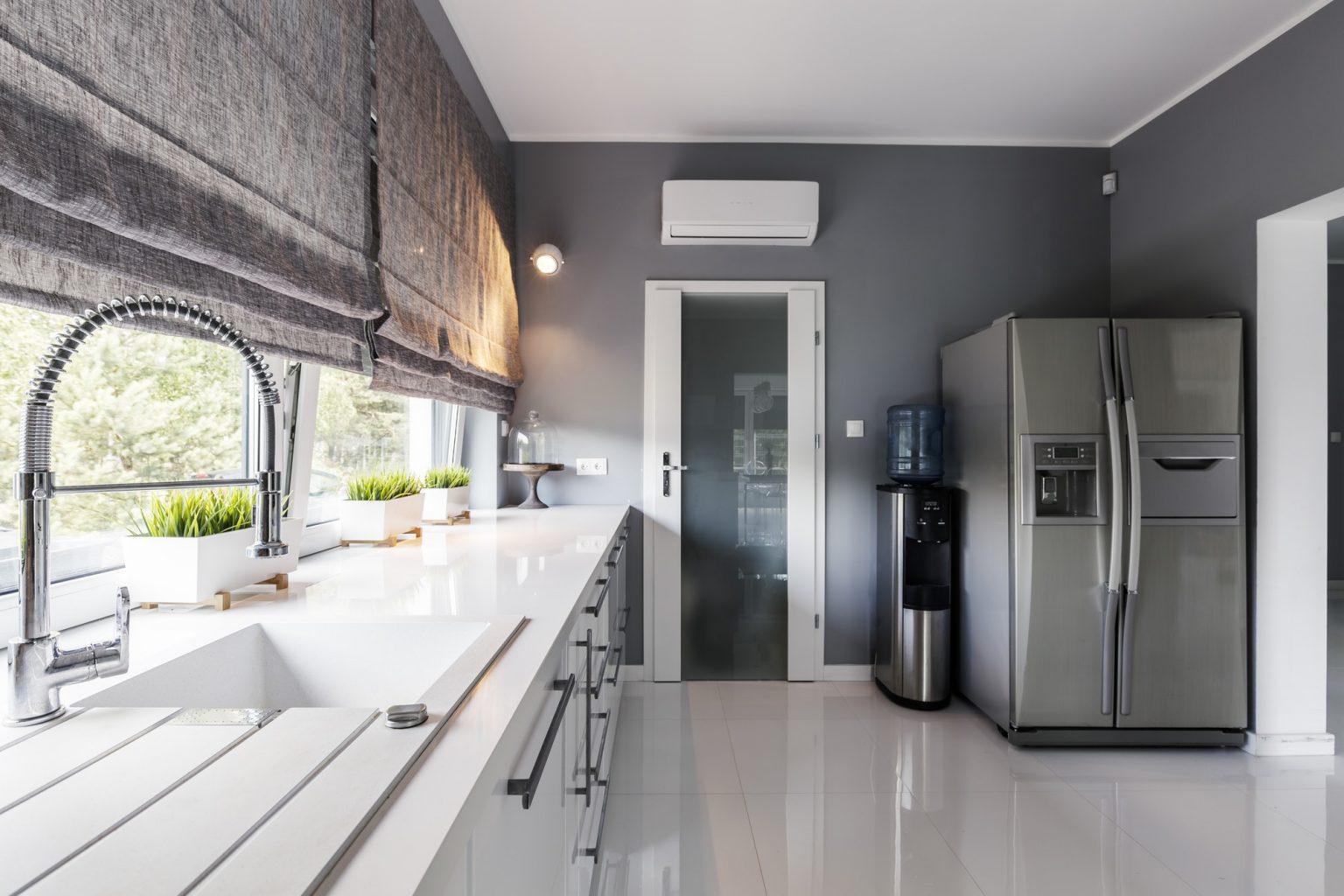 Modern kitchen with big windows