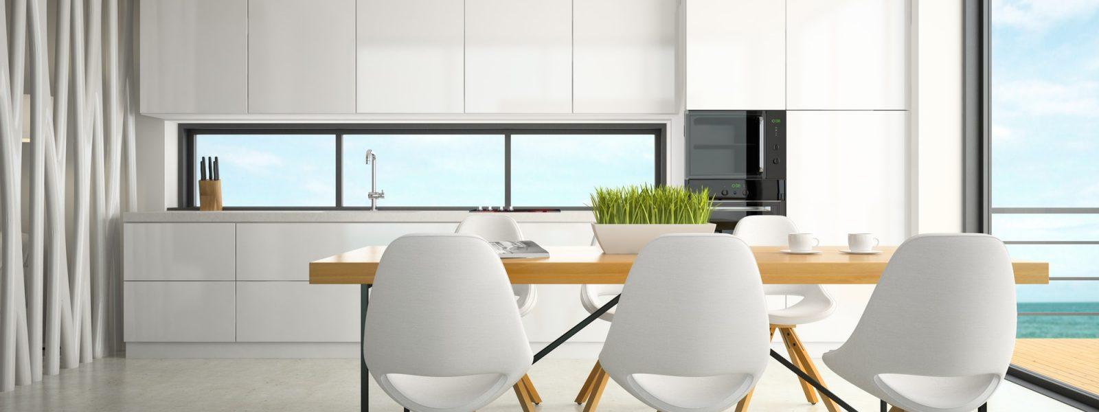 Interior of modern design kitchen 3D rendering